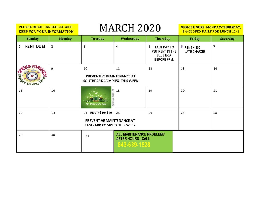 March 2020 RESIDENT CALENDAR - all dates listed below