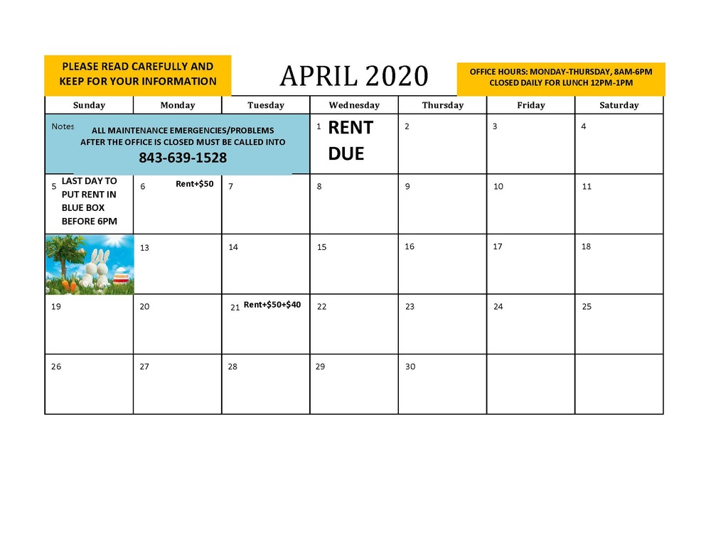 HAHASC April 2020 Resident Calendar - all information provided below
