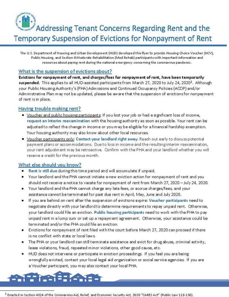 Addressing tenant concerns regarding rent - all information provided above