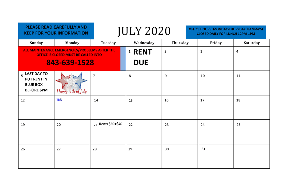 July 2020 Resident calendar - all info listed as text