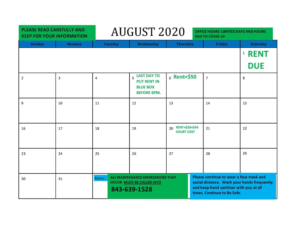 2020 August RESIDENT CALENDAR - all information listed below