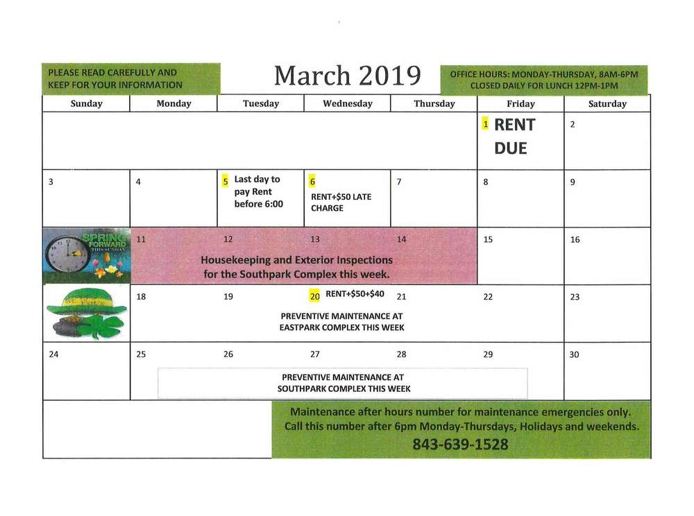 March Calendar - rotated