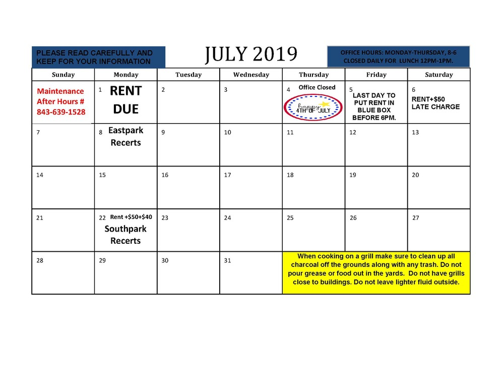 Whats New On Calendar >> July Resident Events Calendar 07 01 2019 What S New